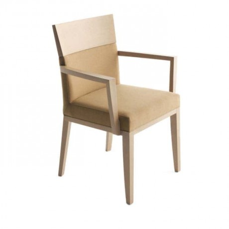 Bej Silinebilir Nubuk Kumaşlı Kollu Sandalye - mskc15