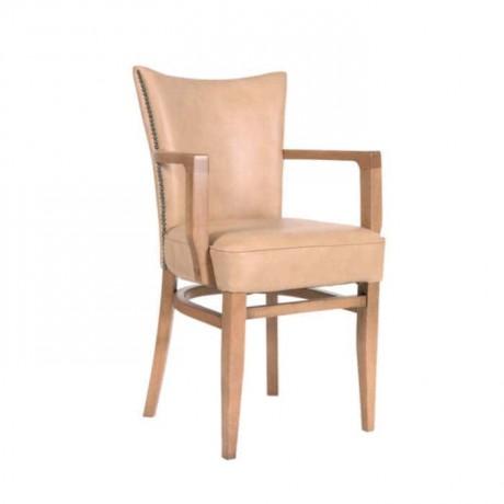 Bej Suni Deri Döşemeli Gürgen Ağaçlı Kollu Modern Sandalye - mska55