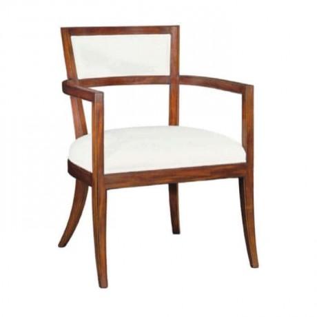 Beyaz Deri Açık Ceviz Boyalı Moderen Kollu Sandalye - mskc11