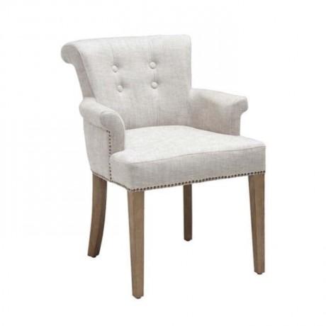 Beyaz Deri Döşemeli Düğmeli Kollu Ahşap Sandalye - mskb07