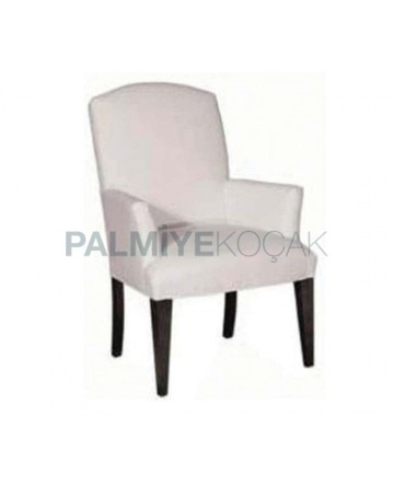 White Leather Upholstered Black Painted Hotel Restaurant Chair