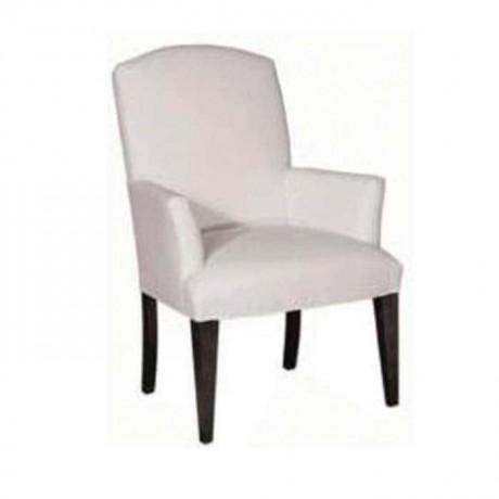 Beyaz Deri Döşemeli Siyah Boyalı Otel Restoranı Sandalyesi - mskb09