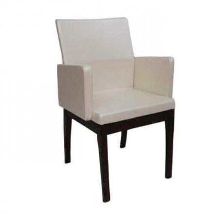 Beyaz Deri Döşemeli Venge Boyalı Ahşap Sandalye - mska9