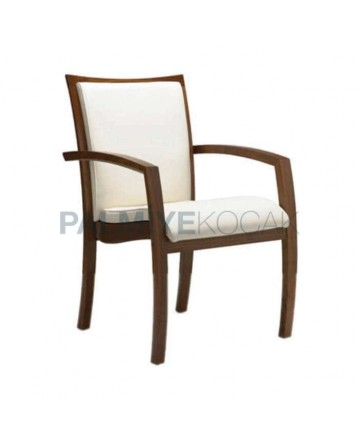 White Leather Hornbeam Wood Arm Chair