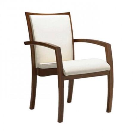 Beyaz Derili Gürgen Ahşap Kollu Sandalye - mskc20