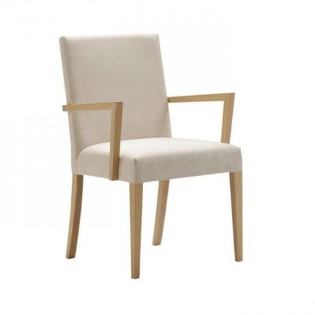 Beyaz Derili Natural Ahşaplı Kollu Giydirme Sandalye - mska78