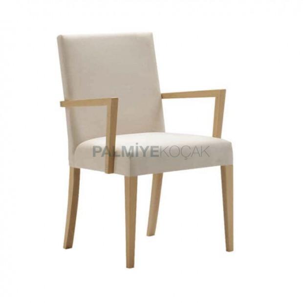 Beyaz Derili Natural Ahşaplı Kollu Giydirme Sandalye