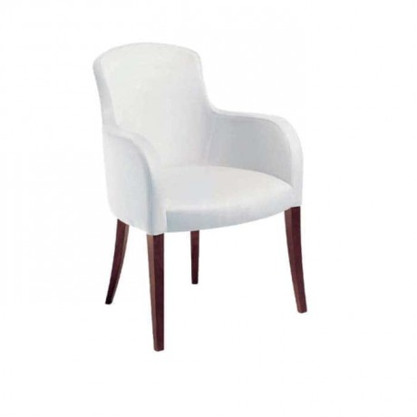 White Fabric Upholstered Cafe Arm Chair - mska19