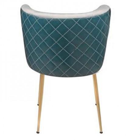 Beyaz Kumaş Döşemeli Sırt Kare Dikişli Pirinç Retro Ayaklı Modern Sandalye - yte162