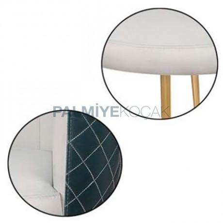 Beyaz Kumaş Döşemeli Sırt Kare Dikişli Pirinç Retro Ayaklı Modern Sandalye - Ahşap Modern Kollu Sandalye