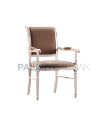 Beyaz Lake Boyalı Kahve Kumaşlı Moderen Kollu Restaurant Sandalyesi