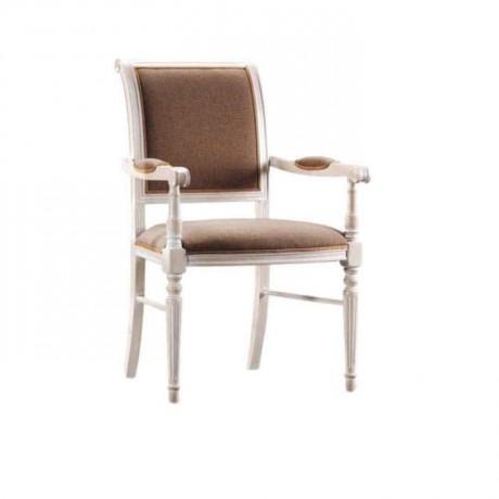 Beyaz Lake Boyalı Kahve Kumaşlı Moderen Kollu Restaurant Sandalyesi - mskc05