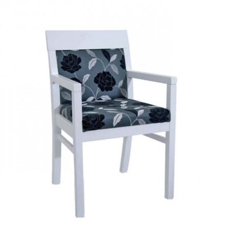 Beyaz Lake Boyalı Siyah Kumaşlı Modern Sandalye - mska80