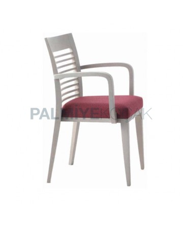White Lacquered Horizontal Stick Restaurant Arm Chair