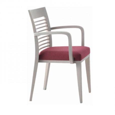 Beyaz Lakeli Yatay Çıtalı Kollu Restoran Sandalyesi - mskc14