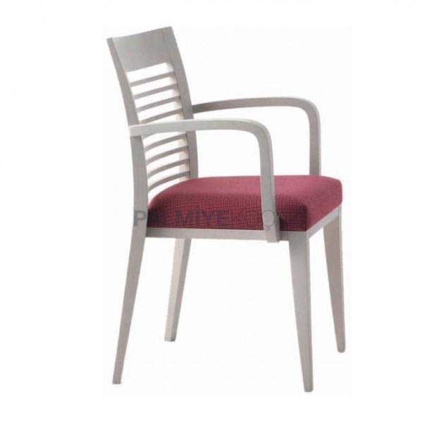 Beyaz Lakeli Yatay Çıtalı Kollu Restoran Sandalyesi