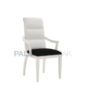 Beyaz Siyah Deri Döşemeli Yarım Kollu Sandalye