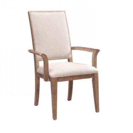 Beyaz Suni Deri Kaplı Ahşap Kollu Sandalye - mskc08