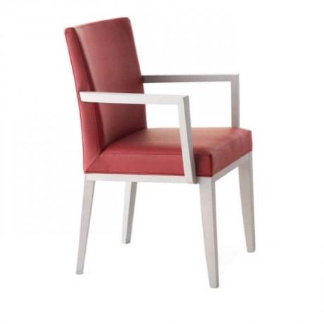 Bordo Derili Beyaz Lakeli Kollu Sandalye - mskc16