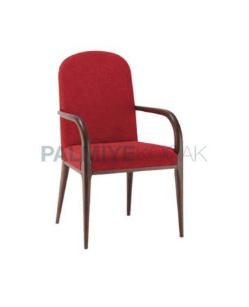 Modern Chair with Bordo Fabric Turned Leg