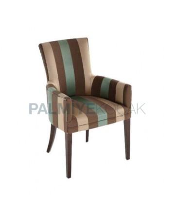 Çizgili Kumaş Döşemeli Ceviz Boyalı Cafe Restoran Sandalyesi