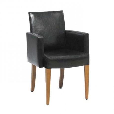Deri Kaplı Ahşap Ayaklı Modern Kollu Sandalye - mskb05
