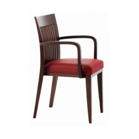 Vertical Stick Bordo Leather Upholstered Wooden Armchair - mskc23