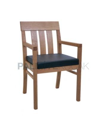 Vertical Stick Black Upholstered Hornbeam Wood Arm Chair