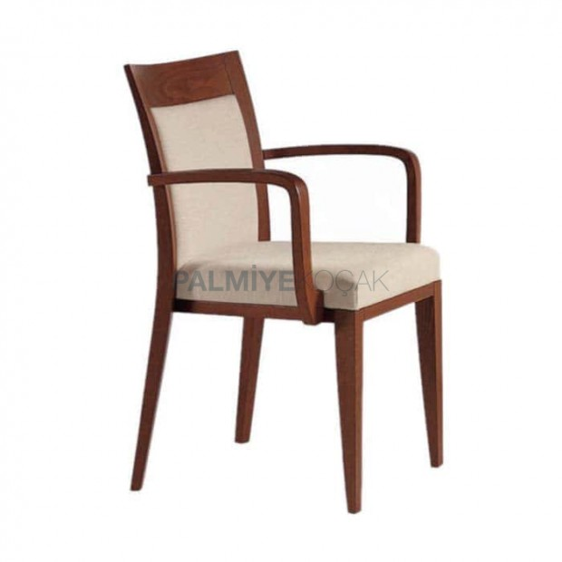 Eskitme Boyalı Beyaz Kumaş Döşemeli Cafe Sandalyesi