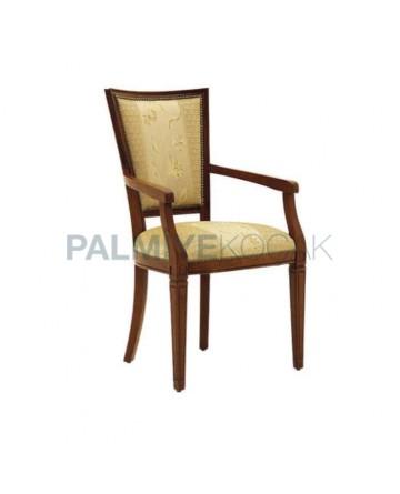 Eskitme Boyalı Taftali Kumaş Döşemeli Kollu Sandalye