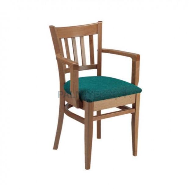 Eskitme Cilalı Yeşil Kumaş Döşemeli Otel Sandalyesi