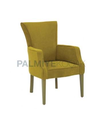 Peanut Green Velvet Fabric Upholstered Wooden Modern Hotel Chair