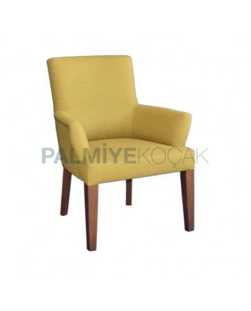 Fıstık Yeşil Koton Kumaşlı Kollu Cafe Sandalyesi