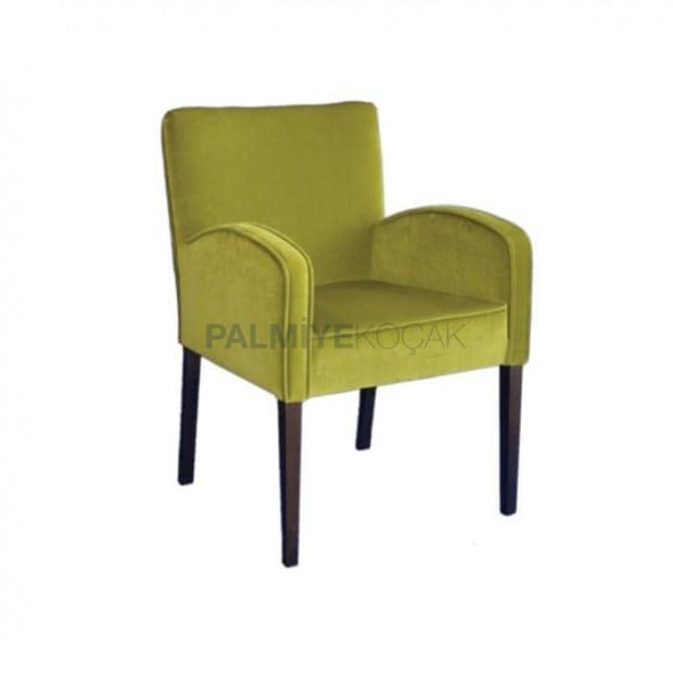 Fıstık Yeşil Kumaş Döşemeli Venge Boyalı Modern Sandalye