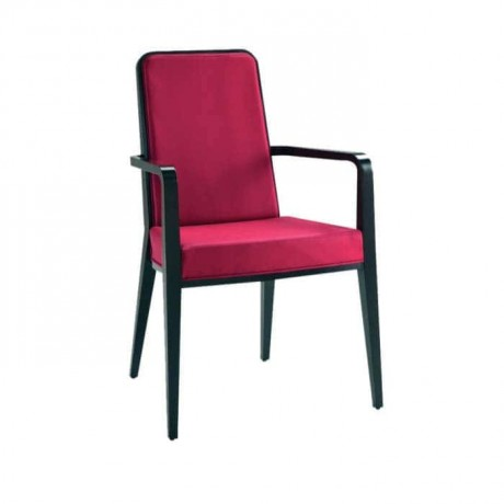 Fusia Fabric Upholstered with Black Arm Chair - mska33