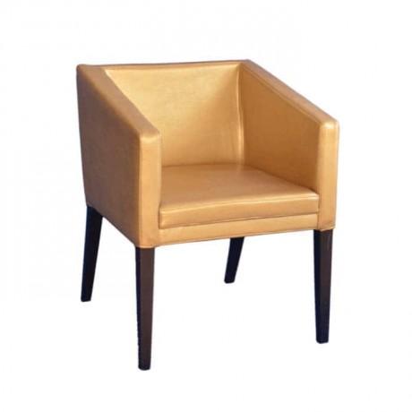 Gold Deri Döşemeli Kollu Ahşap Sandalye - mskb47