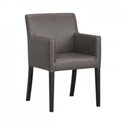 Black Painted Gray Leather Restaurant Arm Chair