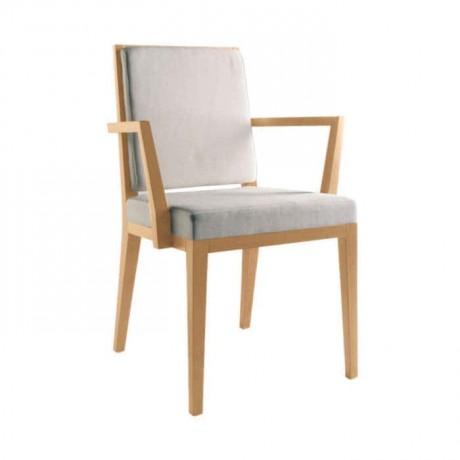 Gri Kumaşlı Ahşap Kollu Otel Odası Sandalyesi - mska62