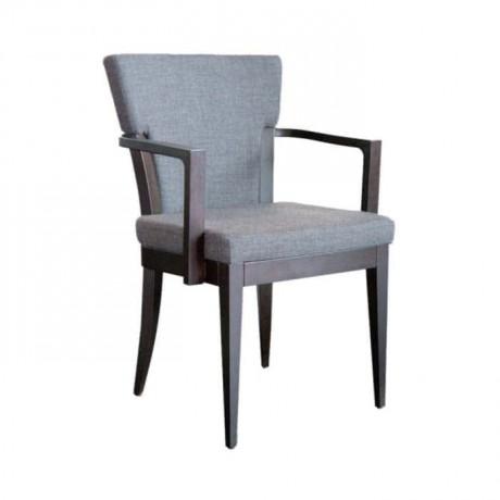 Gri Kumaşlı Ahşap Kollu Sandalye - mska42