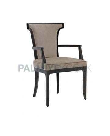 Gri Kumaşlı Siyah Boyalı Ahşap Kollu Sandalye