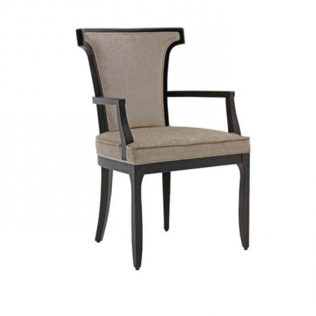 Black Painted Wooden Arm Chair with Gray Fabric - mskc25