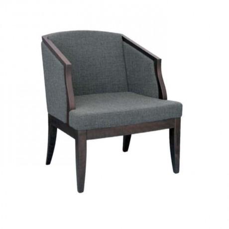 Gri Kumaşlı Venge Boyalı Otel Lobisi Sandalyesi - mskb19