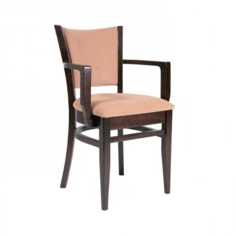 Gürgen Ahşaplı Koyu Eskitme Kollu Modern Restoran Sandalyesi - mska56