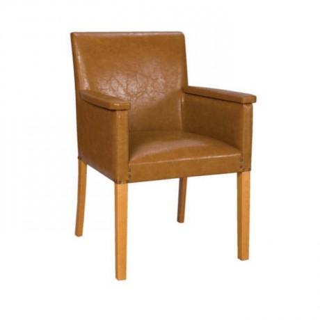 Hardal Sarısı Derili Ahşap Kollu Sandalye - mskb12