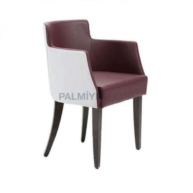 Kahve Beyaz Deri Döşemeli Kollu Sandalye