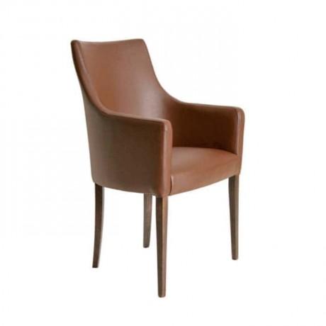 Kahve Derili Kollu Eskitme Boyalı Modern Sandalye - mskb22