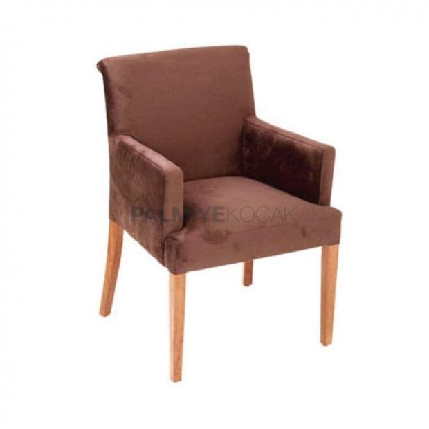 Kahve Silinebilir Kumaş Döşemeli Natural Boyalı Kollu Sandalye