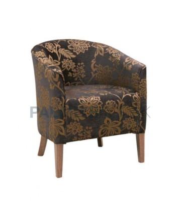 Brown Fabric Hotel Lobby Armchair