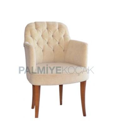 Kapitoneli Silinebilir Kumaşlı Kollu Modern Sandalye