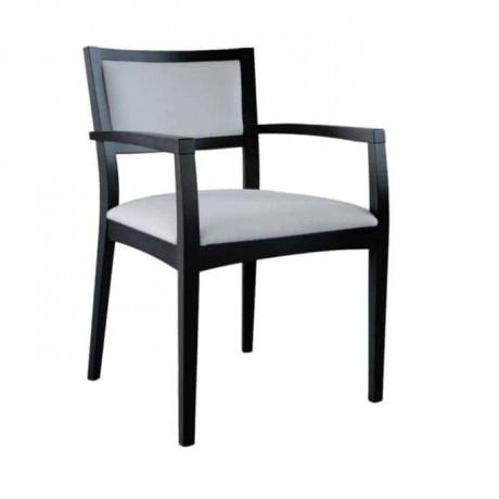 Kayın Ağaç Siyah Boyalı Kollu Kafeterya Sandalyesi - mska72